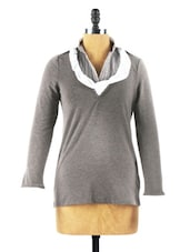 Ash Grey Long Sleeved Jumper Shirt - Collezioni Moda