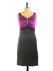 Satin Black And Purple Midi Dress - Collezioni Moda