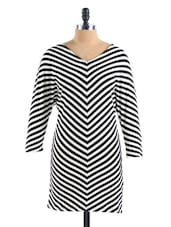 Black And White Striped Cotton Shift Dress - Collezioni Moda