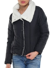 Black Jacket With White Collar - TREND SHOP