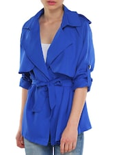 Blue Casual Jacket With Belt - TREND SHOP