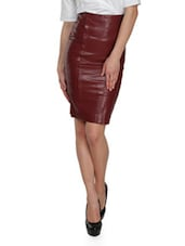 Chocolate Brown High Waist Leather Skirt - By