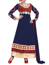 Unstitched Blue & Red Embroidered  Dress Material - 7 Colors Lifestyle