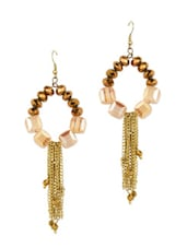 Stylish Beads And Gold Chain Drop Earrings - Blueberry