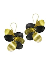 Black And Gold Flower Petal Earrings - Pothys