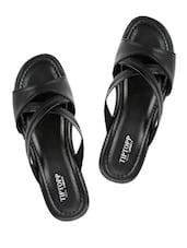 Black Criss-Crossed Slippers - Tiptop