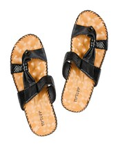 Black Snakeskin Patterned Slippers - Tiptop