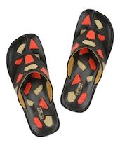 Black Geometric Patterned Slippers - Tiptop