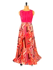 Multi-coloured Printed Maxi Dress With A Back Cut Out Detailing - RiniSeal