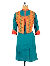 Blue Kurta With An Orange Jacket - RiniSeal