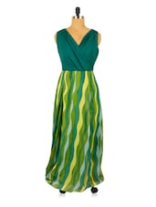 Green And Yellow Printed Long Dress - RiniSeal