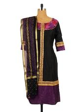 Black And Purple Kurta With Dupatta Set - RiniSeal