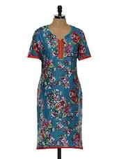 Blue Floral Print Kurta - Tissu