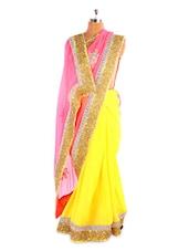 Vibrant Yellow And Pink Chiffon Saree - Fabdeal