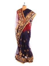 Navy Blue Net Saree With Gold Floral Border - Fabdeal