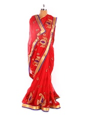 Red Chiffon Saree With Gold Border - Fabdeal