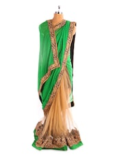 Green And Beige Saree With Gold Border - Fabdeal
