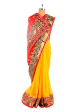 Red And Yellow Saree With Gold Border - Fabdeal