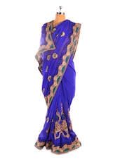Royal Blue And Gold Chiffon Saree - Fabdeal