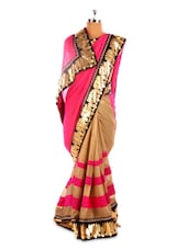 Pink And Beige Saree With Lotus Border - Fabdeal
