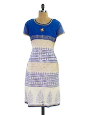 White And Royal Blue Printed Kurti - Pothys