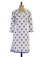 White And Blue Printed Kurti - Pothys