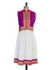 White And Pink Jacket Style Kurti - Pothys