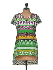 Green Kurti With Geometric Print - Yepme