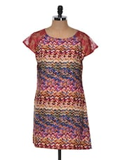 Maroon Printed Kurti With Lace Sleeves - Yepme