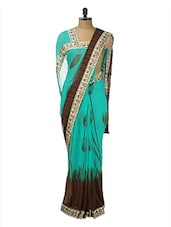 Blue And Brown Floral Georgette Saree - Purple Oyster