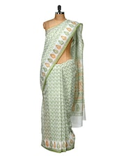 Beautiful Printed Green Cotton Saree - Purple Oyster
