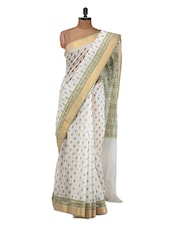 White And Green Cotton Saree - Purple Oyster