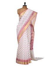White And Pink Cotton Saree - Purple Oyster
