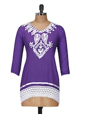 Lovely Purple Top With White Lace - Purple Oyster