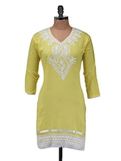 Yellow Embroidered Kurti - Purple Oyster