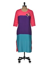 Bright Color Block Embroidered Long Kurta - Popnetic