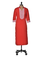 Red Lace Long Kurta - Popnetic