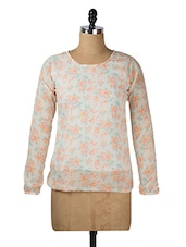 White And Orange Floral Top - Purys