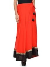 Solid Red Flared Skirt With Black Hem - NAVYOU