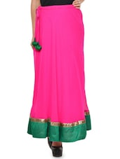 Solid Pink Flared Skirt With Green Hem - NAVYOU