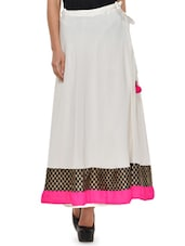 Off-white Flared Skirt With Pink Hem - NAVYOU