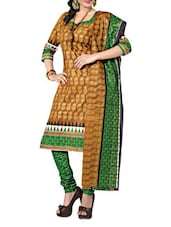 Brown And Green Printed Unstitched Suit - Fabdeal