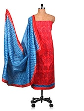 Blue And Red Un-stitched Dress Material - Fabdeal