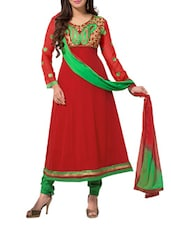 Red Unstitched Embroidered Suit Set - Fabdeal