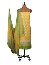 Yellow And Green Printed Dress Material - Fabdeal