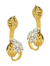 Gold Plated Leaf Patterned Earrings - Estelle
