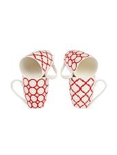 White And Red Printed Mug Set - SYMPHONY