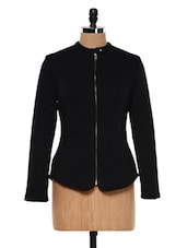 Black Front Zip-up Biker Jacket - Femella