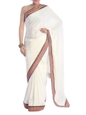Solid White Saree With Gold Border - Saraswati