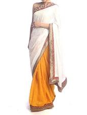 White And Yellow Art Silk Saree - Saraswati
